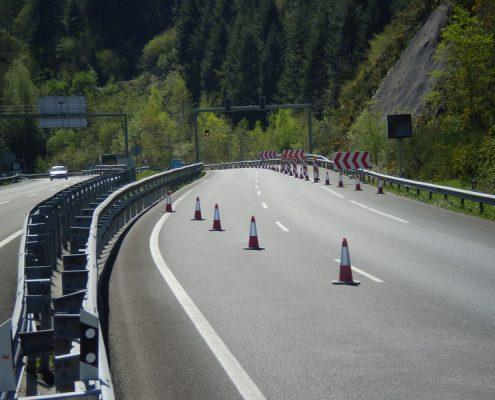Señalización de obras en autopista